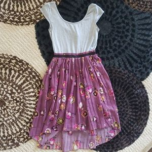Dress with pleated floral skirt